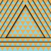 Abstract minimalistic relief backdrop of yellow and blue triangles. Geometric pattern. 3D effect. poster