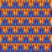 Abstract minimalistic backdrop of orange and blue triangles. Geometric pattern. poster