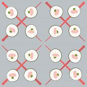 Sushi and red chopstick seamless pattern on grey poster