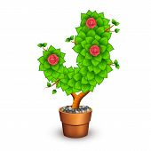 Isolated tree with flowers in clay pot. In the form of letter J. Vector illustration in eps10 poster