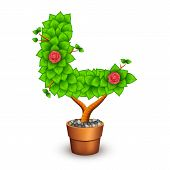 Isolated tree with flowers in clay pot. In the form of letter L. Vector illustration in eps10 poster
