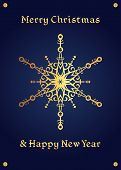 Elegant golden snowflake on a deep blue background. Christmas card, jewellery theme, luxury style. poster