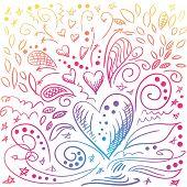 Sketchy romantic doodles, love design elements poster