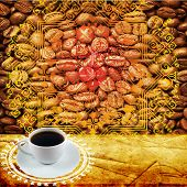 White coffee cup  and  coffee grain  on old paper poster