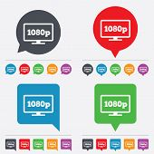 Full hd widescreen tv sign icon. 1080p symbol. Speech bubbles information icons. 24 colored buttons. Vector poster