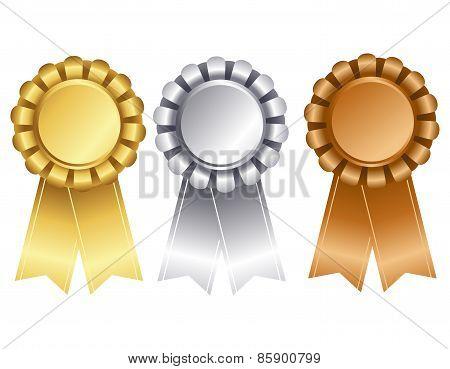 Gold Silver And Bronze Award Ribbon
