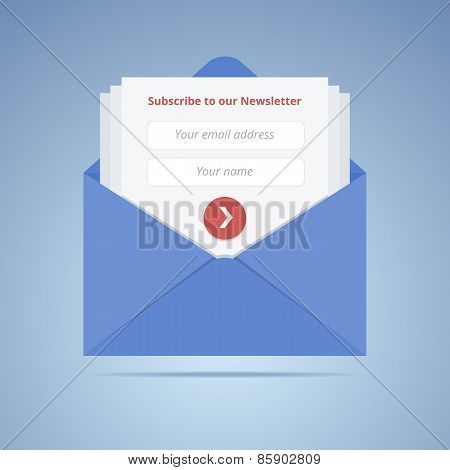 Blue envelope with subscription form in flat style for email mar