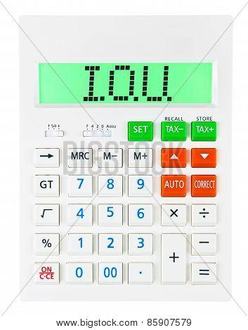 Calculator With I.o.u.