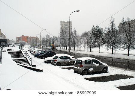 Winter Snowfall In Capital Of Lithuania Vilnius City Fabijoniskes District