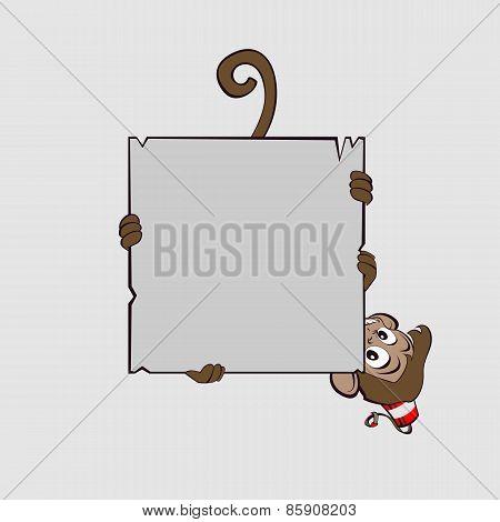 Monkey clings to scroll