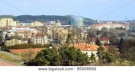 VILNIUS LITHUANIA - MARCH 13: Vilnius city Zverynas district aerial spring view on March 13 2015 Vilnius Lithuania. poster