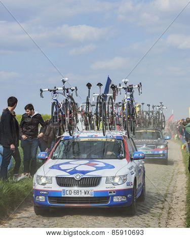 The Car Of Fdj.fr Team On The Roads Of Paris Roubaix Cycling Race