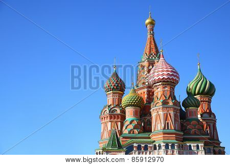 St. Basil's cathedral on Red Square in Moscow, Russia. Copyspace at the left.