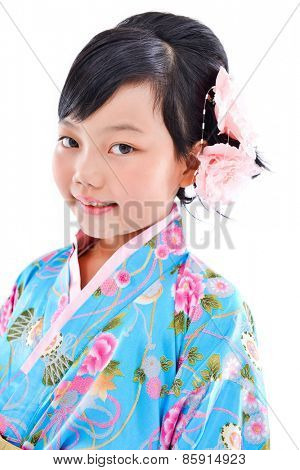 Asian cute girl wearing a kimono