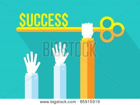 Business competition, Leadership and Key To Success Concept