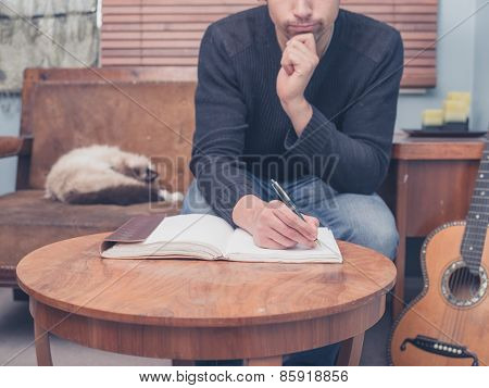 Young Songwriter Sitting On Sofa At Home