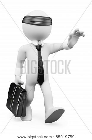 3D White People. Businessman Walking Blindly. Business Metaphor