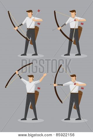 Archers With Bow And Arrows Vector Character Illustration