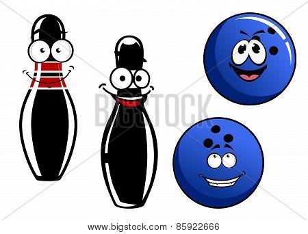 Happy smiling cartoon bowling pins and balls