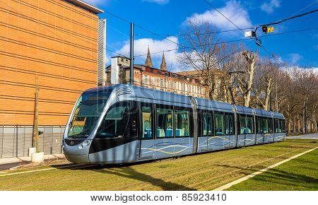 Toulouse, France - January 07: Alstom Citadis 302 Tram On January 7, 2014 In Toulouse, France. The O