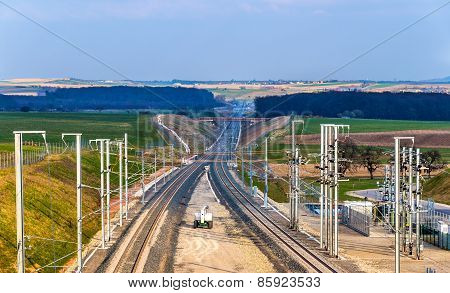 High-speed Railway Lgv Est Phase Ii Under Construction Near Saverne, France. To Be Opened In 2016.