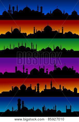 Oriental arabian city skylines with mosques
