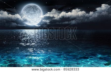 romantic and scenic panorama with full moon on sea to night