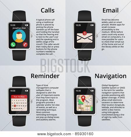 Smartwatch. Receiving calls and unread messages, navigation map, calendar