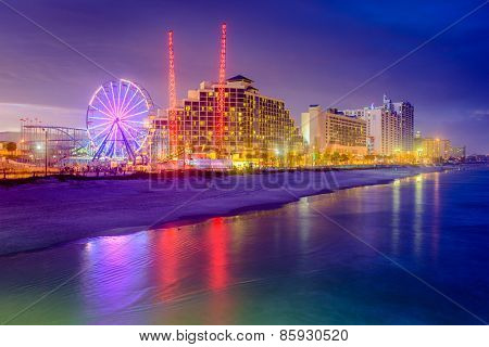 Daytona Beach, Florida, USA beachfront resorts skyline.