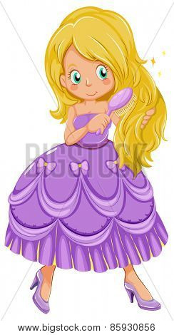 Close up princess combing hair