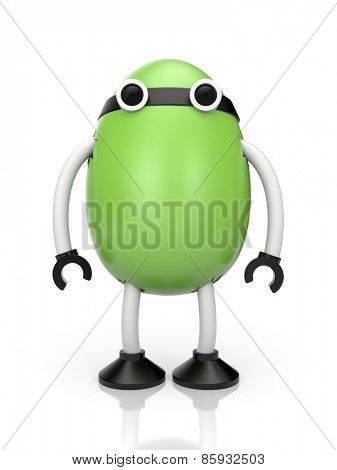 Green robot in the form of egg