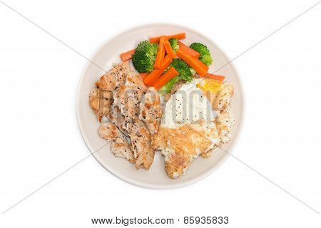 Diet Food, Clean Eating, Chicken Steak And Omelet With Vegetable