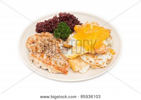 Chicken Steak And Omelet With Brown Rice