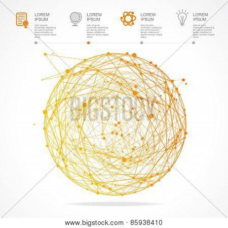 Vector abstract orange sphere infographics. Flat Design