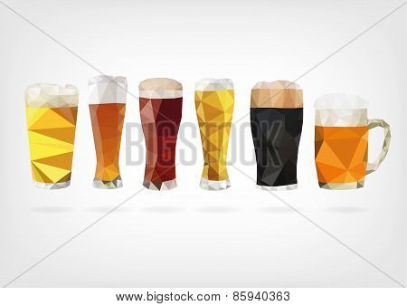 Low Poly Beer Glasses