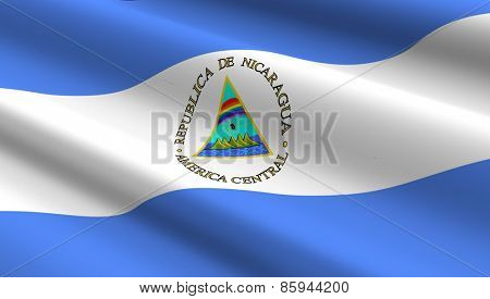 Nicaragua flag background. Computer generated 3D photo rendering.