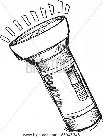 Doodle Sketch Flashlight Vector Illustration Art