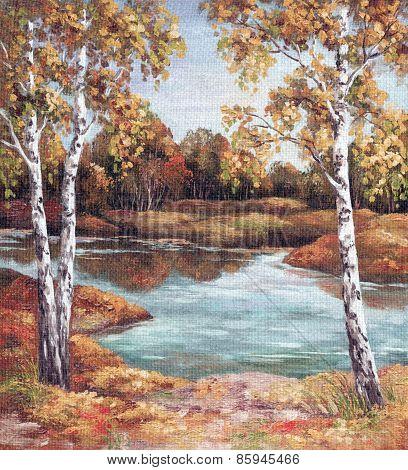 Painting Autumn Landscape, Trees