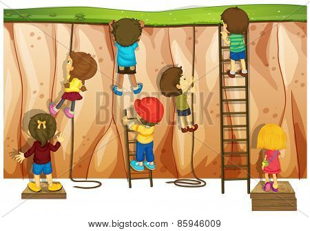Many children climbing up the cliff and ladder