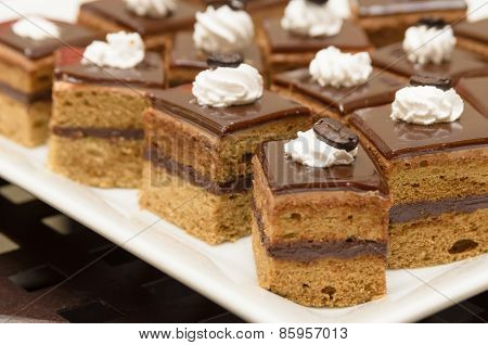 Mini Coffee Cake Topping With Chocolate Sheet And Coffee Bean