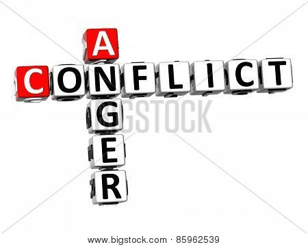 3D Crossword Anger Conflict On White Background