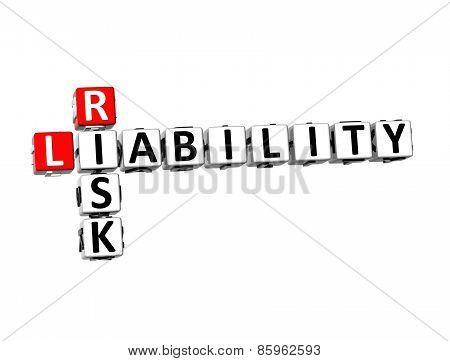 3D Crossword Risk Liability On White Background