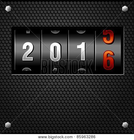 New Year 2016 Analog Counter detailed vector