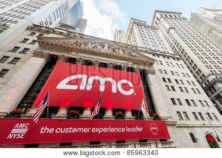 New York - DECEMBER 18, 2013: AMC IPO on New York Stock Exchange on December 18 in USA, New York. AMC is theater chain