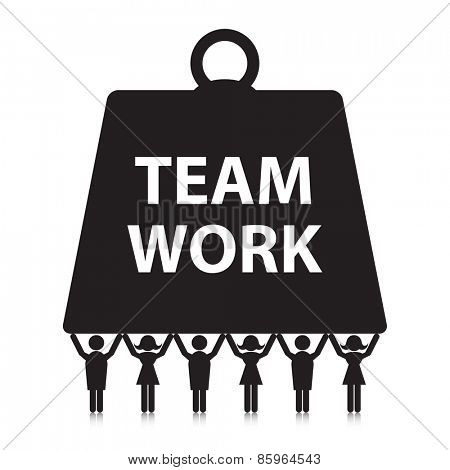 Teamwork concept. Silhouette people holding up a heavy weight.