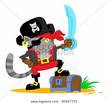 Cute Cartoon Cat In Pirate Costume