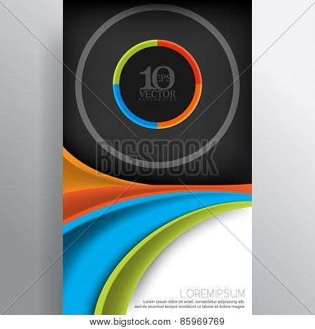 eps10 vector modern corporate business layout background design, wave lines and round elements