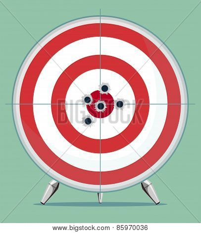 Target with bullet traces in the Center