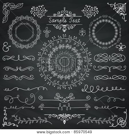 Vector Chalk Drawing Doodle Design Elements