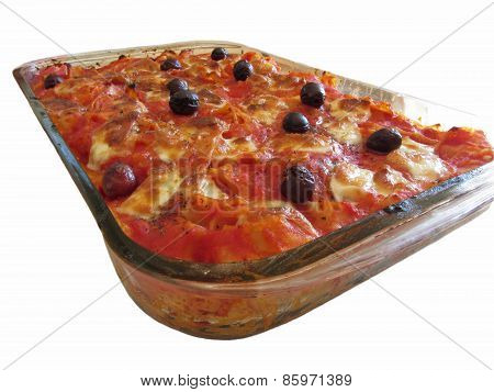 Home Made Baked Pasta On White Background